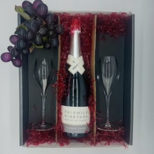 Fairmile Vineyard Classic Cuvée sparkling wine and glasses Gift Case